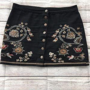 DEX Black Skirt with Embroidery